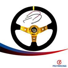 PQY RACING- NEW GOLD Steering wheel ID=14inch 350mm OMP Deep Corn Drifting Steering Wheel/Suede Leather Steering wheel PQY-SW21G