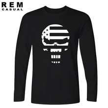 new American Sniper Chris Kyle Men Long sleeve T Shirt Punisher Skull Navy Seal Team Legend Printed Fashion funny hip hop Casual(China)
