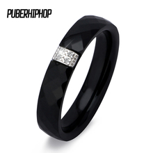 Unique Rings Women 3mm Black White Ceramic Ring For Women India Stone Crystal Comfort Wedding Rings Engagement Brand Jewelry(China)