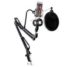 Adjustable Recording Microphone Arm Stand with Mic Round Shape Wind Pop Filter Mask Shield and Phone Holder