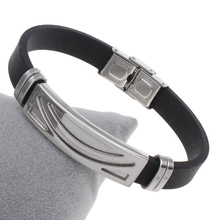 YYW New Fashion Men Jewelry Simple Geometric Black Rubber Silicone Wrap Bracelets Silver-color Stainless Steel Bracelet Bangles(China)