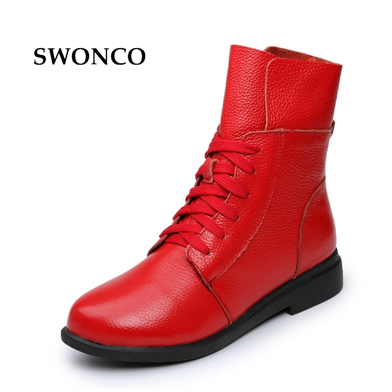 Womens Boots Ankle Boot Genuine Leather Lace Up Winter Boot Ankle Boots For Women Genuine Leather Low Heel Female Shoes<br>