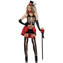 4 Pcs Adult Skeleton Day of The Dead Costume Women's Sexy Sugar Skull Halloween Ghost Vampire Bride Fancy Dress