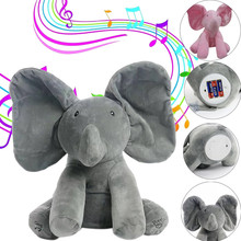 30cm Plush Animated Flappy Elephant Toy PEEK-A-BOO Singing Baby Music Toys Ears Flaping Move Interactive Funny Doll Gift Triver