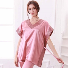 2017 Women Homewear Spring Summer Chinese Folk Pattern Nightgown Sexy V-neck Silky Short Bat Sleeve Shirts Pink Silk Pajama Sets(China)