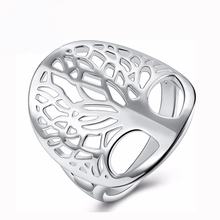 NEW ARRIVAL silver tree of life ring hollow fashion silver plated unique novelty style women lady gift men unisex hot wholesale(China)