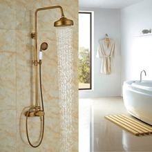 Wholesale And Retail Promotion Wall Mounted Shower Column Antique Brass Shower Single Handle Shower Mixer Tap