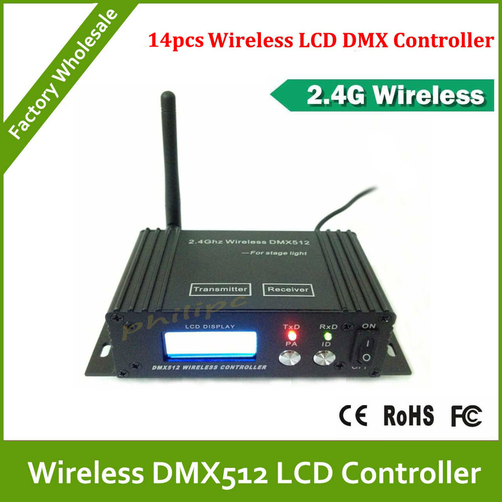 DHL Free Shipping  2.4G 2x8 bit LCD Wireless DMX512 Reciver/Sender<br>