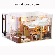 New Dust Cover Furniture DIY Doll House Wooden Miniature Doll Houses Furniture Kit Box Puzzle Assemble Dollhouse Toys For gift(China)
