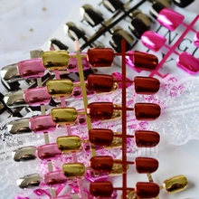 Wholesale Fake Nails Silver Gold Mirror Square False Nails Pink Red Color Acrylic Metallic Nails 10 kits(China)