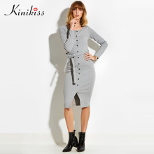Kinikiss 2017 spring women sexy club gray women sweater dress slim bodycon knitted sweater button winter party oversized sweater(China)
