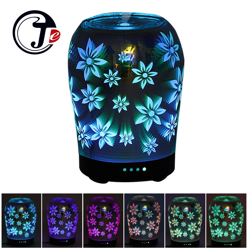 3D Flower Aroma Diffuser Air Ultrasonic Humidifier for Home Air Humidifier Essential Oil Diffuser Lamp with Changing LED Light<br>