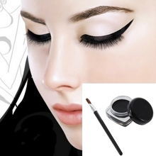 Hot Selling Cosmetic Waterproof Eye Liner pencil make up black liquid Eyeliner Shadow Gel Makeup + Brush Black(China)