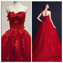 Vestido 3D- Applique Red Evening Dresses A Line Sweetheart Lace Tulle Lace Up Back Formal Gowns robe de soiree