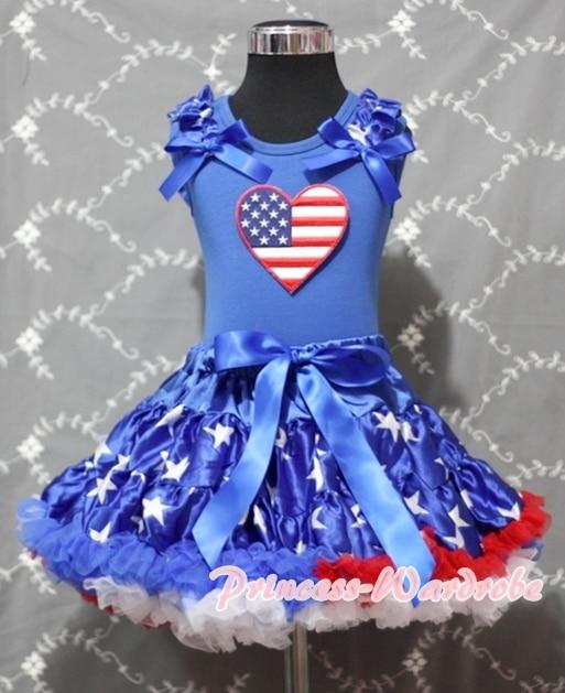 4th July American Heart Blue Cotton Shirt Patriotic Stars Royal Blue Skirt Girl Clothing Set MAPSA0914<br>