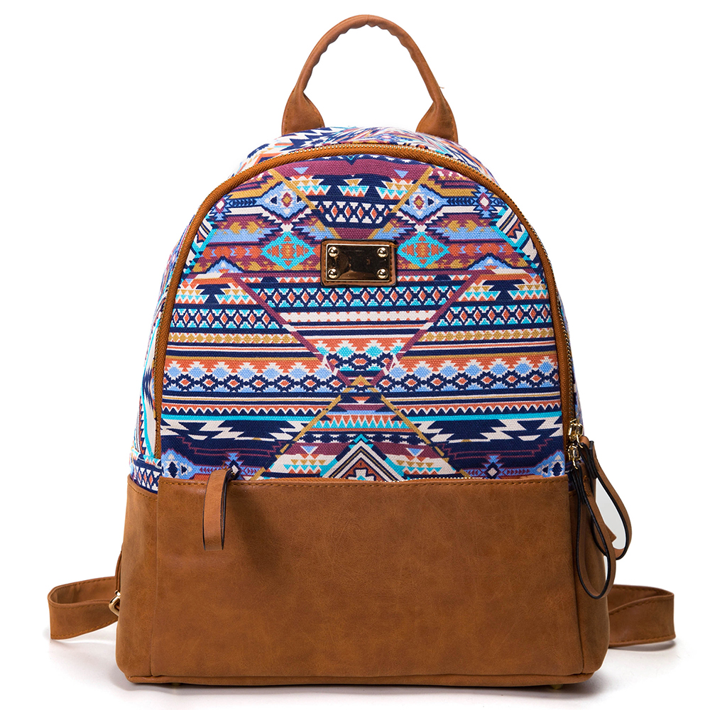 Sansarya 2017 High Quality Bohemian Printing Canvas with PU Female Backpack Women Vintage Shcool Bag Casual Daypack Bagpack<br>