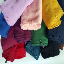 New Colorful pearls scarf plain hijabs for women viscose solid shawl Nice beads scarf muslim head wrap elegant fashion scarves