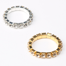 2017 Korean Bright Silver Plated Elastic Cubic Zirconia Rings Shining Full Crystal Rhinestone finger Rings for women jewelry