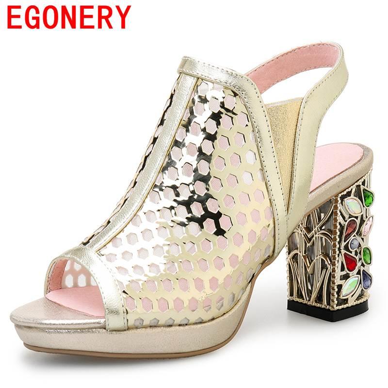 EGONERY women sandals genuine leather Net yarn high heels hollow shoes woman Rhinestones heel sandals peep toe platform sandals<br>