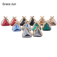 Grace Jun(TM) 6 Color Choose Bridal Big Crystal Rhinestone Triangle Clip on Earrings Without Piercing for Women Charm Ear Clip(China)