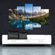5 Pieces Modern Canvas Moraine Lake And Mountain Painting Wall Art The Picture For Home DecorationGiclee Artwork For Wall Decor(China)
