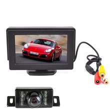 7 LED Night Vision Car Rearview Camera HD 170 Angle 4.3 inch LCD Car mirror Monitor car backup camera Parking Assistance System