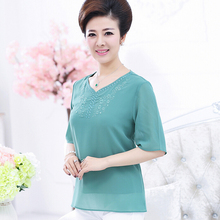 Buy Middle Aged Women's Tops Short Sleeve Mother Clothing Fashion New Diamond Elegant Chiffon Tee Plus Size Blusas Shirts G477 for $11.93 in AliExpress store