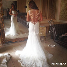 Sexy Beach Vintage Wedding Dresses 2016 Backless Beaded Pearls Whit Ivory Bohemian Bling Bridal Gowns Plus Size Champagne China