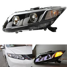 U-Tube Style LED Guiding Headlight Bi Xenon Projector Fit For Honda Civic 12-15(China)