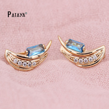 PATAYA Luxury Earrings 585 Rose Gold Chandelier Earring Light Blue Natural Cubic Zircon Crescent Shape Vintage Jewelry