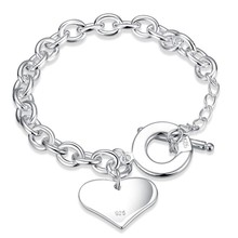 Buy Hot Sale Famous Brand Love Bracelet New Women Bracelet SILVER plated Chain Heart Bangles Bracelets Pulseira Fashion Jewelry for $2.99 in AliExpress store