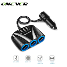 Onever 1 to 3 Car Cigarette Lighter Socket Splitter Hub Power Adapter 12V-24V with 3 USB 5V/3.1A for iPhone iPad Samsung(China)