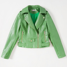2017 New Spring Fashion Street Leather Jacket Women Grass Green Slim Short Washed PU Leather Jackets Long Sleeve MF165201(China)