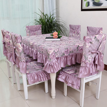 European style Purple Floral jacquard tablecloth set suit 130*180cm table cloth matching chair cover 1 set price free ship