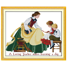 Teacher and Children Patterns Counted Cross Stitch 11CT 14CT Cross Stitch Sets Chinese Cross-stitch Kits Embroidery Needlework