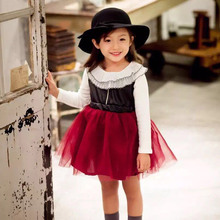 kids dresses for girls 2016 new girls autumn fashion pu tulle tutu party dress toddler dress LP(China)
