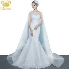 iGown Brand Mermaid Wedding Dress Sexy Slim White Lace Embroidery Court Train Long Fishtail Wedding Gown with cape Custom