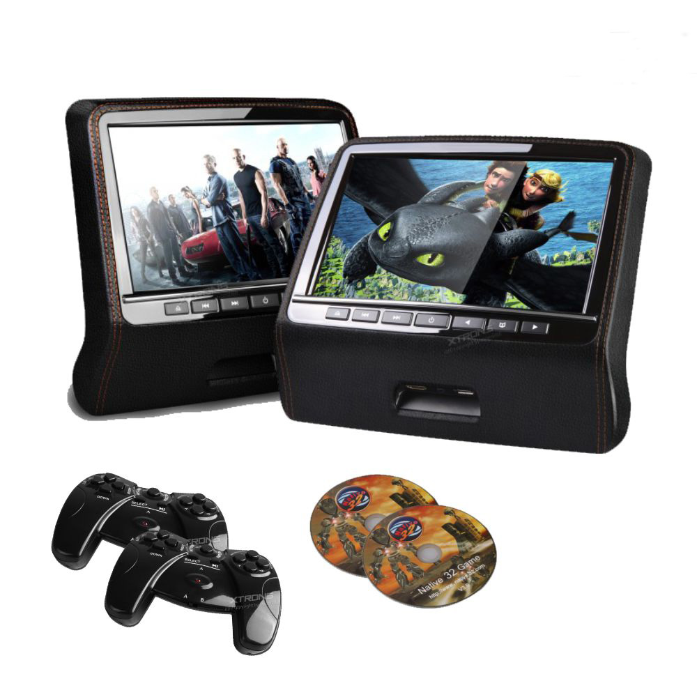 2PCS 9 Inch HD 800*480 LED Car Headrest DVD Player Monitor Built-in Speaker With USB/HDMI/IR/FM/Game(China (Mainland))