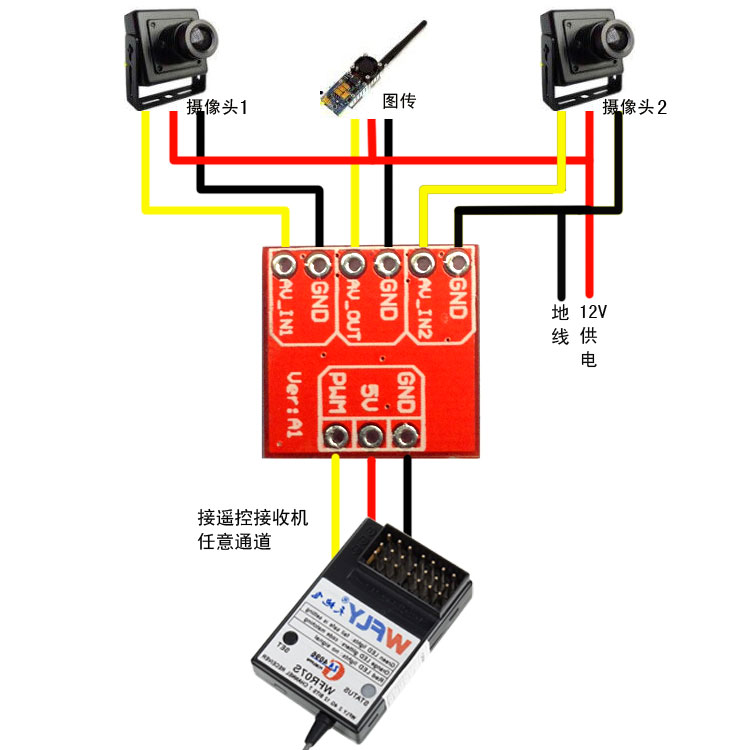 Mini 2 Ways Video Switcher Module 2 Channels Video Switch Unit for FPV Video Switcher FPV Video Switcher Remote(China (Mainland))