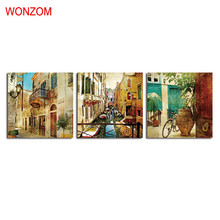 Framed Venice Glance Paintings Modern Villa 3Pcs Wall Christmas Canvas Pictures For Home Decor Gift Posters And Prints Quotes