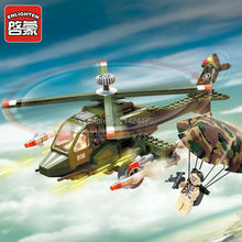 Brand Enlighten Military series Helicopter 818 Building Block Eduction DIY Active Model Assemble Brick Kids Toy Gift Collection