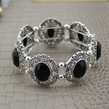 BOLIZE 2017 New Hot Sell Fashion Vintage Silver Tone Black Stone Cool Elastic Bracelet Girls Lady VMM Free Shipping
