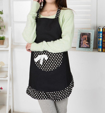 Hanerdun Womens Apron Ladies Cute Apron Fancy Maid Set Apron, Black Bowknot Apron With pocket