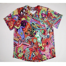 Real American Size Trippy  3D Sublimation Print Custom made Button up baseball jersey plus size