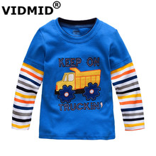 VIDMID Boys T-shirt Kids Tees Baby Boy brand tshirts Children blouses Long Sleeve 100% Cotton cars trucks stripes free shipping(China)