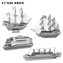 Finger Rock 3D Metal Puzzles DIY Model Gift World's Ship Ferry Caribbean Black Pear Titanic Golden Hind Jigsaws Present Gift