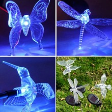 New Multicolor LED Solar Light Dragonfly/Butterfly/Bird Lawn Lamps Solar LED Path Light Outdoor Garden Lawn Landscape Lamp(China)