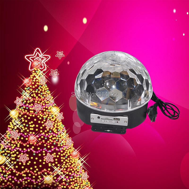 Holiday spirit Disco DJ Stage Lighting Digital LED RGB Crystal Magic Ball Effect Light  with remote controller , mp3 and U dIsk<br>