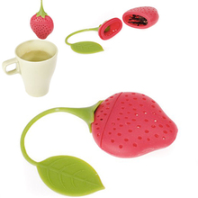 Strawberry Design Silicone Tea Infuser Strainer - Red and Green /Suitable for Use in Teapot, Teacup and More(China)