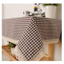 Free Shipping,Pastoralism Linen Table Cloth Coffee Side Table Towel Tablecloth Lattice Chic Home Decoration/Toalha De Mesa
